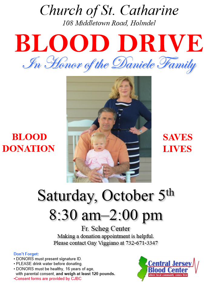 BLOOD DRIVE In Honor of the Daniele Family at Church of St. Catharine