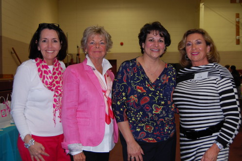 Pocketbook Bingo committee members (from left): Mary Lee, Lincroft; Barbara Willis, Avon-by-the Sea; and Valarie DeFelice, Colts Neck (far right) with the winner of the 50/50 raffle, Maryann Gowen of Lincroft.