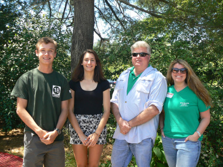 Pictured from left to right, Junior Class President Houston Migdon, Bradley Beach, and Junior Class Vice President Elisa Orsini, Shrewsbury, are pictured with Sickles Market owner, Bob Sickles, and his daughter Tori at their celebratory picnic.  The Junior Class was declared the winner of the Battle of the Class Sandwiches, with 502 sandwiches sold.