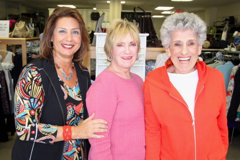 Left to right: Thrift Boutique volunteers Diane Trillo, Lorraine Weinberg, and Eva Turco