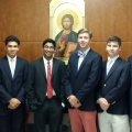 CBA's National Merit Commended Students, left to right: Michael Cornette of Rumson, Ajay Handa of Tinton Falls, Ankur Kumar of Toms River, Christopher Largey of Colts Neck, Nicholas Rizzo of Colts Neck, and Robert Treval of Jackson. Missing from photo are Christian Bischoff of Jackson, Ryan Desrochers of Brick, and Slater Richardson of Red Bank.
